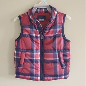 Andy & Evan Red & Navy Plaid Vest Size 2T